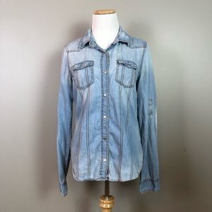 Francesca's Collections Acid Wash Chambray Small